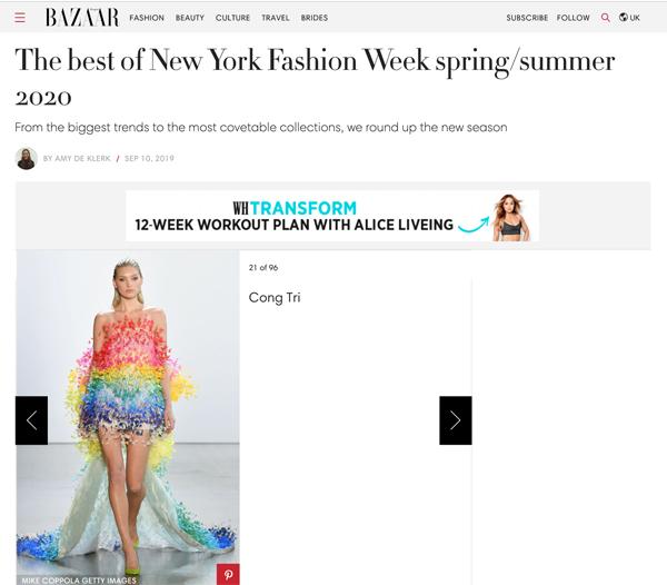 Vogue, Harper Bazaar Mỹ đồng loạt đưa tin về show diễn của NTK Công Trí 3
