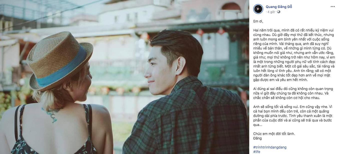 Sao Việt thông báo chia tay qua facebook khiến khán giả vừa day dứt yêu thương, vừa ngậm ngùi tiếc nuối 4
