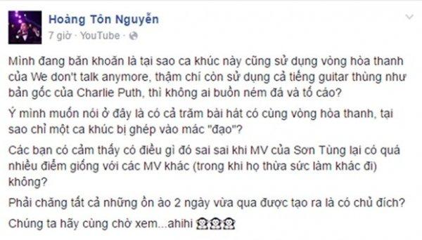 Hoàng Tôn công khai chỉ trích Sơn Tùng.