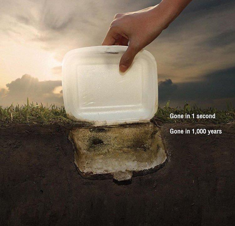 Bạn chỉ mất 1 giây để quẳng hộp xốp này ra môi trường nhưng nó sẽ trường tồn 1000 năm.
