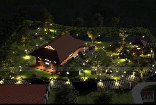 Căn nhà tọa lạc giữa 1 mảnh đất vuông vắn có diện tích khá lớn. Đa phần diện tích đất đều được dùng để làm sân vườn, trồng cây và tạo hình non bộ.