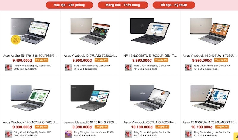 Nhiều mẫu laptop đang được Thế Giới Di Động bán trả góp 0%, đặc biệt khách hàng không cần trả trước bất kỳ một đồng nào.