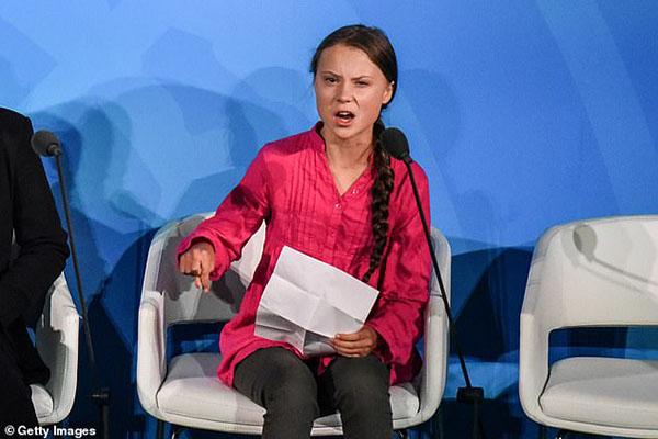 Greta Thunberg phát biểu tại Hội nghị thưởng đỉnh về Biến đổi khí hậu của Liên Hợp Quốc (UN) ngày 24/9.