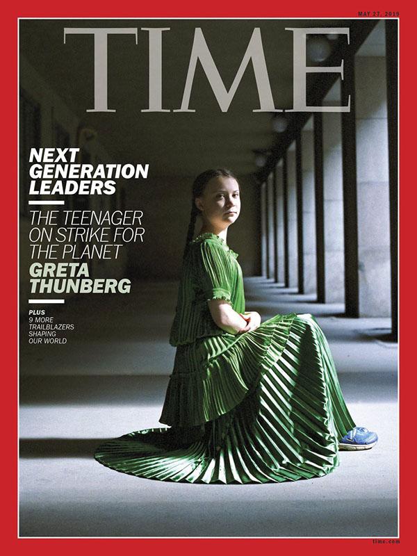 Tháng 9 năm nay, Greta Thunberg xuất hiện trên trang bìa tạp chí Time với tiêu đề 'Thủ lĩnh của thế hệ tiếp theo' (The next generation leaders)