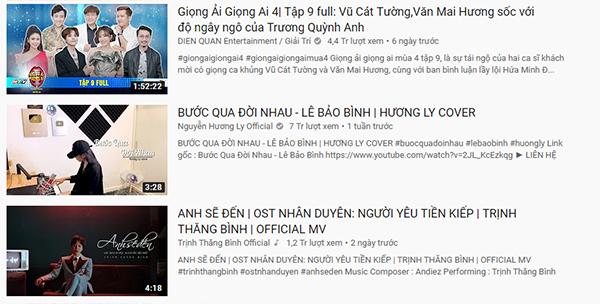 Hương Ly có tới hai ca khúc nằm trong Top Trending
