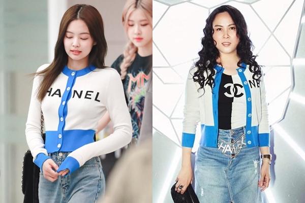 Trước đó, nữ doanh nhân Việt và người đẹp xứ Hàn cũng từng đụng độ mẫucardigan đơn giản của Chanel. Nhờ nhan sắc trẻ trung cùng body chuẩn 'không chút mỡ thừa', Jennie ghi điểm tuyệt đối khi diện item này dù chỉ mix cùng quần jeans đơn giản. Trong khi đó, Phượng Chanel lại bị chê là kém sang, thiếu tinh tế vì mix match phụ kiệnrườm rà.