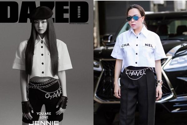 Phượng Chanel cũng được đánh giá là bắt trend khá nhanh nhạy khi cập nhật ngay cho tủ đồ của mình mẫu áo sơ mi trắng dáng lửng của Chanel. Thiết kế này cũng từng được Jennie diện khi xuất hiện trên bìa tạp chí.Tuy nhiên, nếu như Jennie nhận được 'cơn mưa' lời khen nhờ thần thái sang chảnh cùng cách mix match tinh tế khi kết hợp với quần biker shorts, phụ kiện thắt lưng tôn khéo vòng eo thon thì Phượng Chanel lại 'giấu' đi vòng eo.