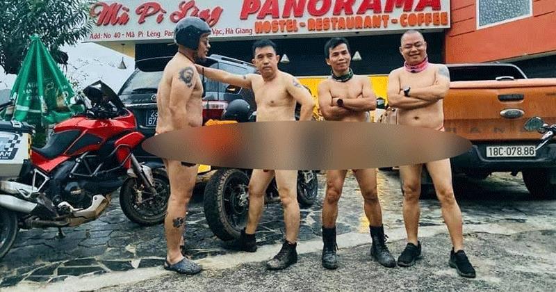 Hiếu Orion và 3 người đàn ông khác gây sốc khi khỏa thân đi xe máy tới khách sạn 7 tầng trên đèo Mã Pì Lèng