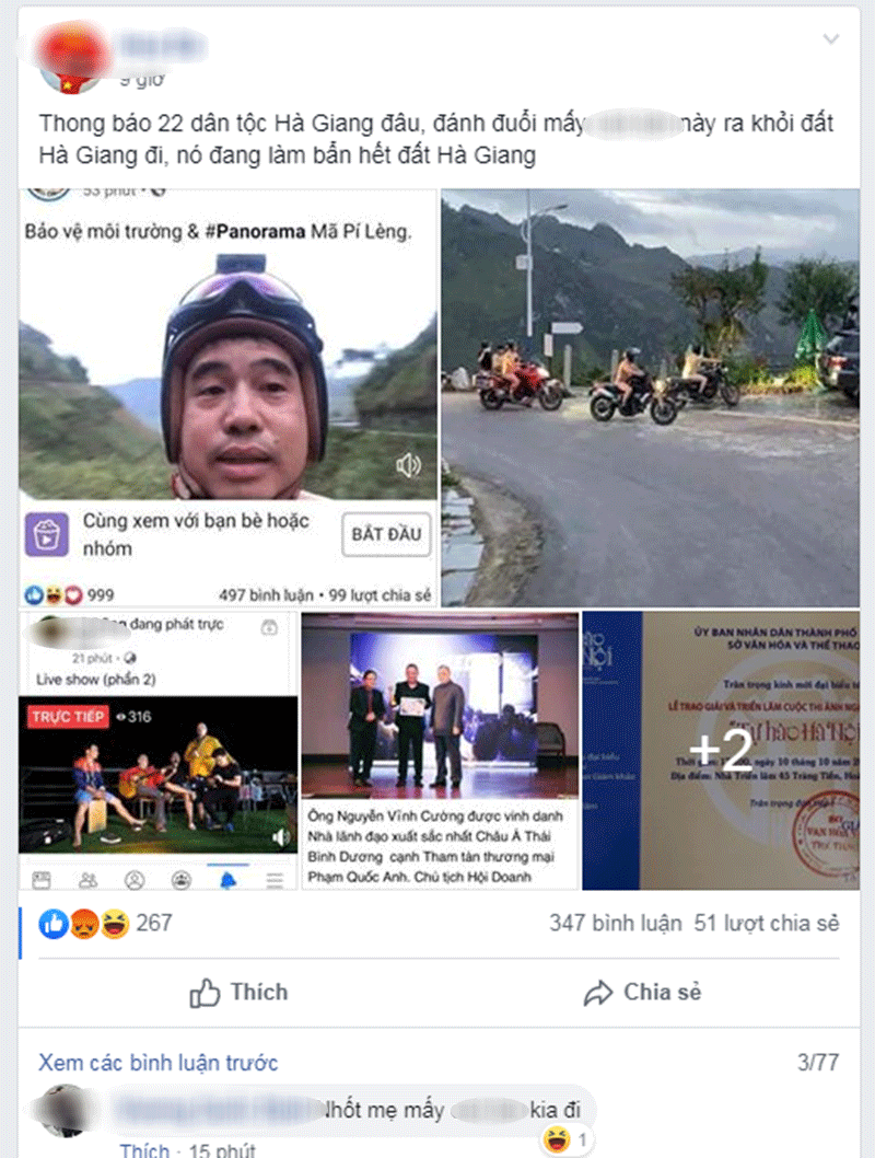 Tại một nhóm cộng đồng người Hà Giang, rất nhiều những chia sẻ và bình luận thể hiện sự phẫn nộ đối với Hiếu Orion và 3 người bạn. Họ kêu gọi tẩy chay hành động này, thậm chí là 'trục xuất' họ ra khỏi Hà Giang.