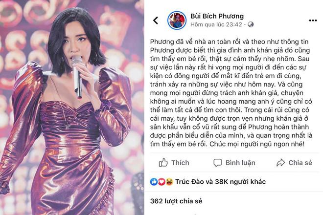 Nữ ca sĩ chia sẻ trên trang cá nhân sau sự cố