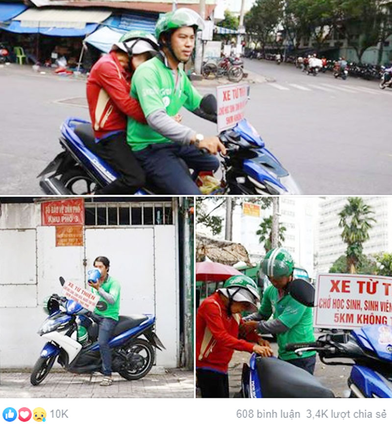 Hình ảnh đẹp của anh Quí khắp các con đường ở Sài Gòn đang nhận được sự ủng hộ của đông đảo thành viên mạng. Ảnh chụp màn hình.