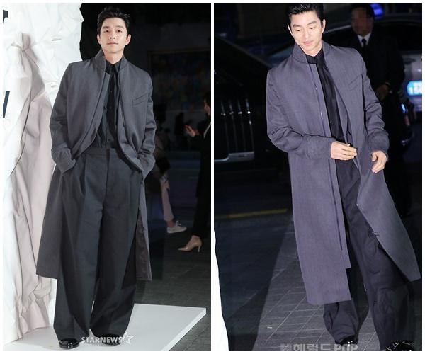 Nam diễn viên 'Yêu tinh' gây ấn tượng với bộ trang phục xanh đen với điểm nhấn quần ống rộng cùng áo khoác dáng dài cực điển trai.