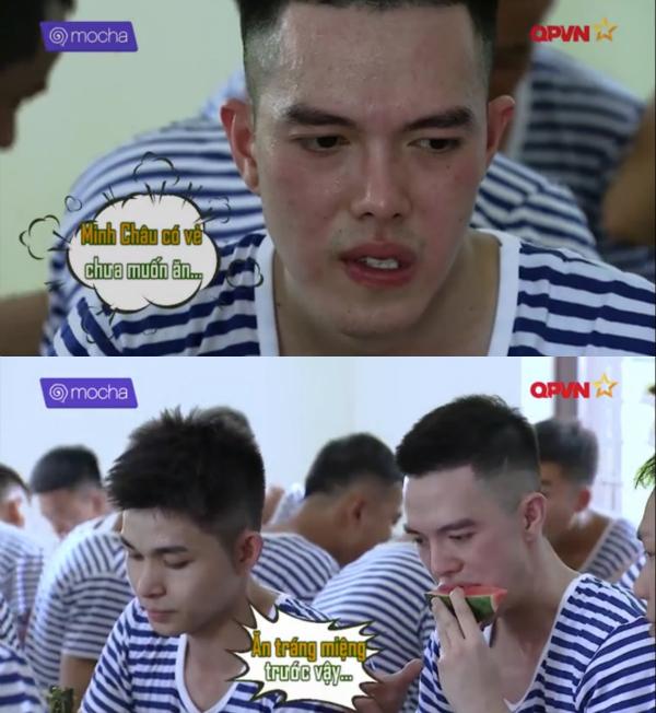 Do tiêu tốn nhiều năng lượng cho bài thi chạy. ca sĩ Minh Châu phải mất một lúc ngồi nghỉ mới bắt đầu dùng bữa.