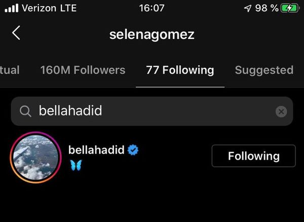 Selena Gomez theo dõi Bella Hadid trên Instagram.