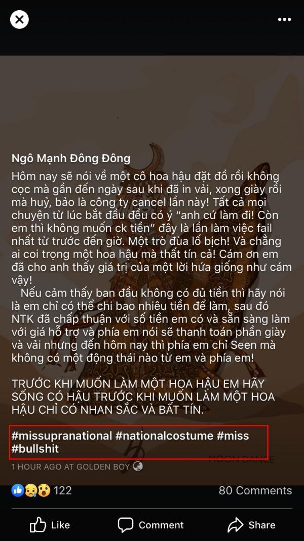Bài đăng của NTK Ngô Mạnh Đông Đông.