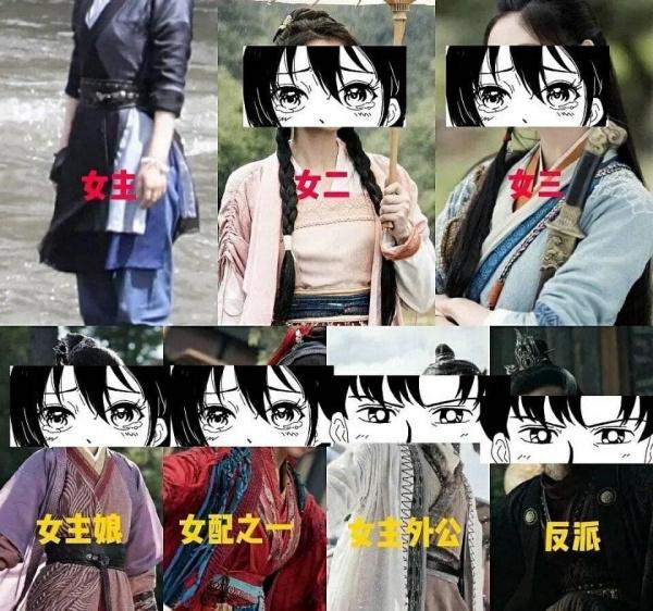 So sánh trang phục của Chu Phỉ với các nhân vật còn lại.