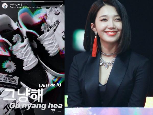 Eunji (Apink) cũng thuộc hội sao Hàn đang 'chết mê chết mệt' đôi giày với hoạ tiết hoa cúc xinh xinh này.