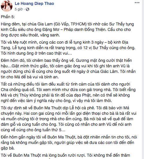 (Ảnh chụp từ màn hình FB bà Lê Hoàng Diệp Thảo)
