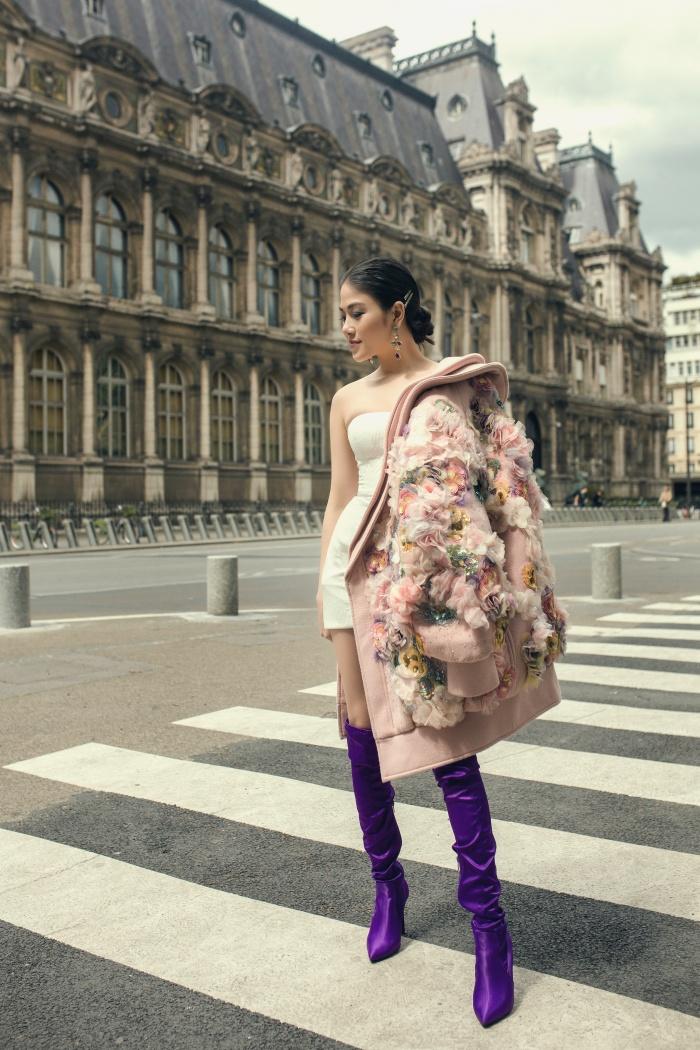 Hoa hậu Áo dài Tuyết Nga hoá quý cô thời thượng ở Paris 4