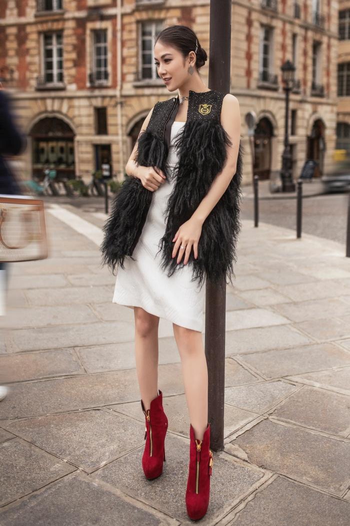 Hoa hậu Áo dài Tuyết Nga hoá quý cô thời thượng ở Paris 6