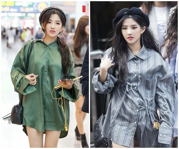 Bên cạnh đó, mốt giấu quần cũng được Soyeon áo dụng triệt để. Đây cũng là cách phối đồ hiệu quả giúp các cô nàng 'biến thấp thành cao' nhanh chóng.