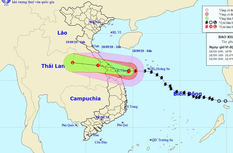 Đường đi và vị trí bão số 5.