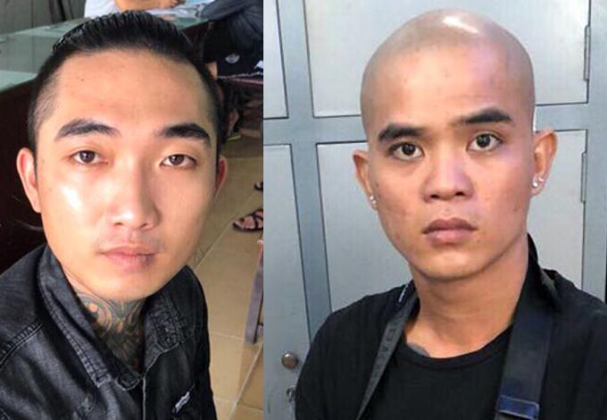 Nguyễn Văn Tươi (phải) và Nguyễn Xuân Trường tại cơ quan công an. Ảnh: Công Lý