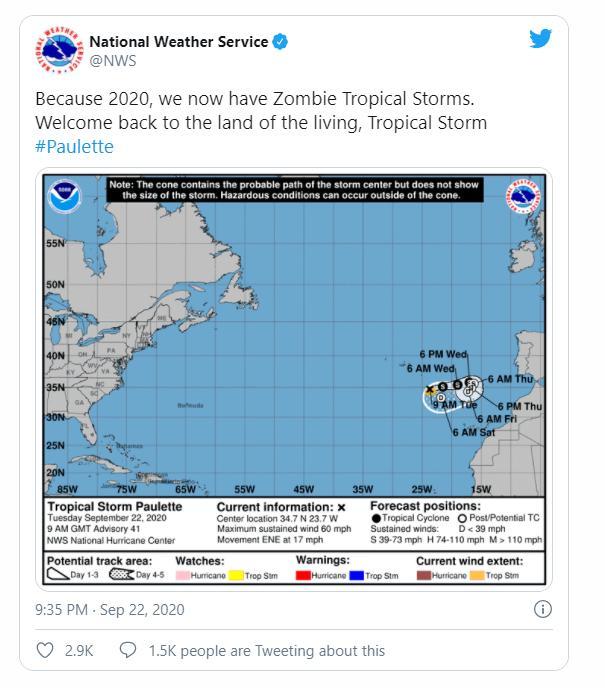 Dòng tweet của cơ quan Thời tiết Quốc gia của Mỹ, khi tổ chức này lần đầu tiên sử dụng thuật ngữ 'Các cơn bão nhiệt đới thây ma (zombie)'