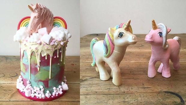 Bánh kem với tạo hình kỳ lân đáng yêu dành cho các bé gái( Nguồn:Mrandmrsunique)