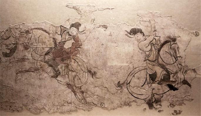 Trò chơi cổ đại của Trung Quốc được mô tả trong một ngôi mộ cổ khai quật trước đó ở Thiểm Tây - Ảnh: P. WERTMANN
