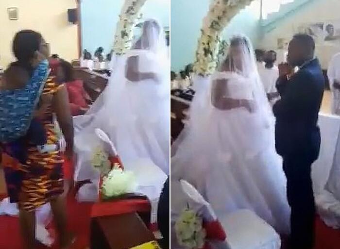 Chị Mubita mang các con xông vào hôn lễ của chồng.