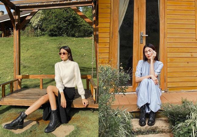Đối với Hà Tăng, cô chọn dáng boots buộc dây đơn giản màu đen để dễ kết hợp cùng nhiều set đồ. Mặc dù nhìn cá tính, nhưng kiểu boots này khi kết hợp cùng váy sẽ cho bạn vẻ ngoài trendy.