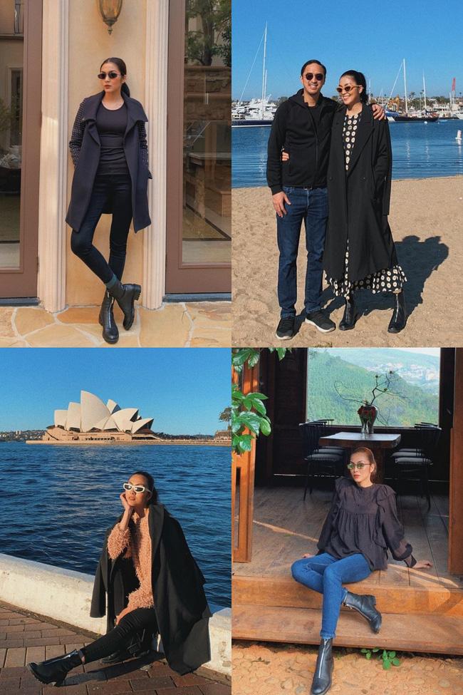 Với Hà Tăng, đôi boots đen này dường như là 'chân ái' vì mix kiểu gì cũng đẹp. Khi thì năng động với quần jeans hay legging, khi lại đầy thu hút khi diện cùng váy dài.