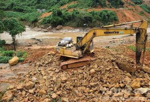 Khu vực phát hiện thi thể thứ 2 trong vụ sạt lở làm 17 người mất tích và tử vong tại nhà máy thủy điện Rào Trăng 3.