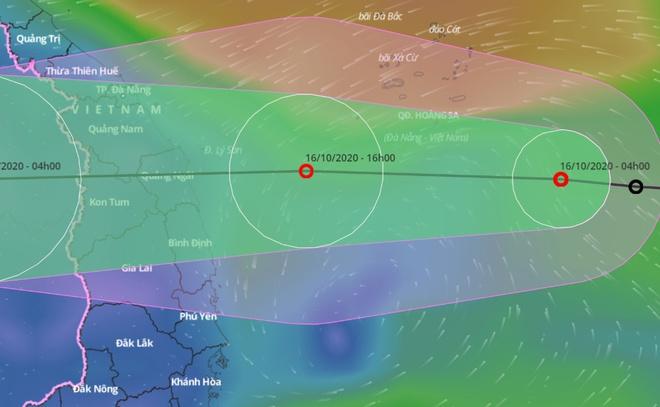 Dự báo đường đi của áp thấp nhiệt đới trên Biển Đông. Ảnh:Hệ thống giám sát thiên tai