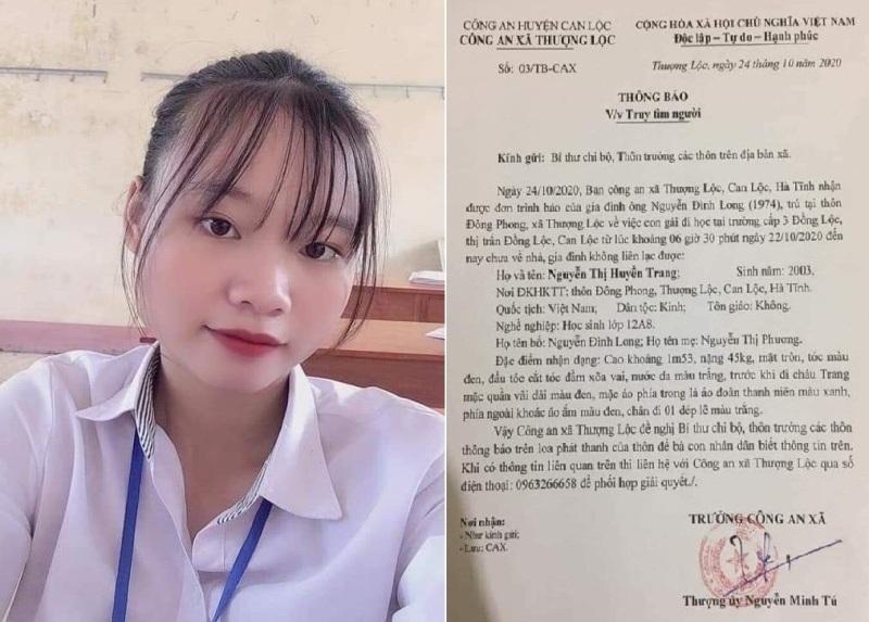 Hình ảnh em Nguyễn Thị Huyền Trang và thông báo tìm người của Công an xã Thượng Lộc.