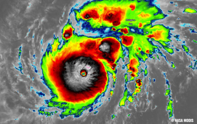 Ảnh về bão Goni từ vệ tinh hồng ngoại MODIS của NASA. Nguồn: MODIS/NASA