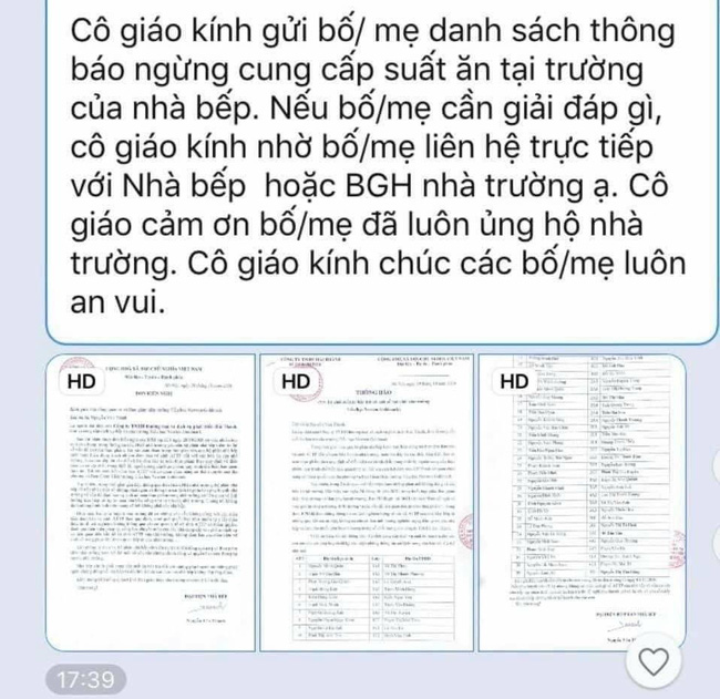 Nhà trường gửi nguyên văn bản thông báo cho các phụ huynh và đề nghị phụ huynh cần giải đáp gì thì tự liên hệ với nhà bếp hoặc BGH.