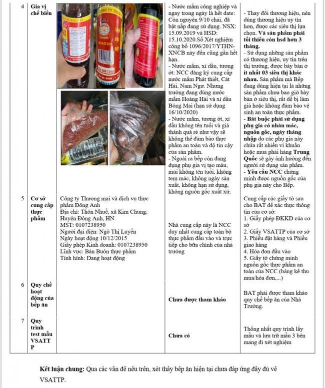 BPH yêu cầu bộ phận nhà bếp kiểm tra lại về vấn đề vệ sinh an toàn thực phẩm.