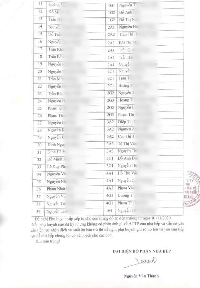 Thông báo từ chối phục vụ bán trú kèm danh sách 39 học sinh.