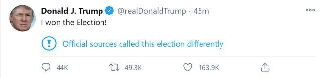 Dù nhắc lại tuyên bố trước đó, nhưng dòng tweet mới của ông Trump vẫn nhanh chóng nhận được nhiều lượt thích và chia sẻ chỉ sau ít phút