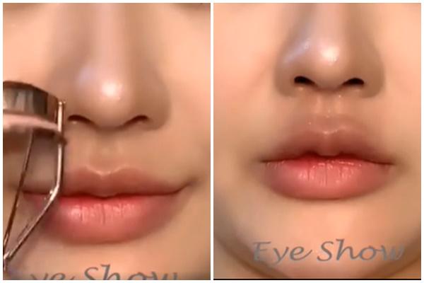 Bạn có nhận thấy sự khác biệt giữa hai bức ảnh? Sau khi dùng kẹp mi, bờ môi của nàng 'nóng bỏng' hơn nhiều đúng không nào?