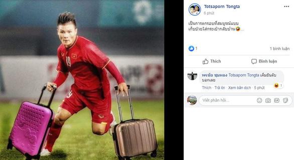 CĐV Thái Lan đã chế ảnh Quang Hải và tuyển U23 Việt Nam xách vali về nước.