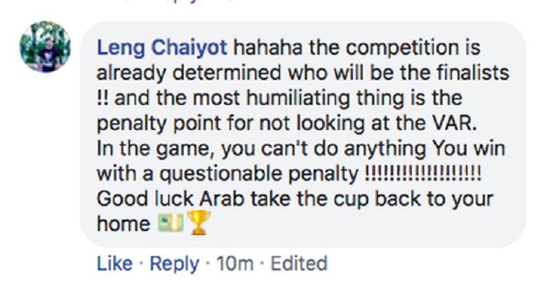 Giải đấu này vốn đã chọn sẵn đội nào đi tiếp, đội nào bị loại. Và điều nhục nhã nhất là trọng tài chỉ tay vào chấm penalty mà không cần xem lại video. Trong trận đấu, Ả Rập Saudi chẳng thể ghi bàn và rồi họ thắng bằng một quả pen đầy nghi vấn. Chúc may mắn choArab, hãy mang cúp về nhà.