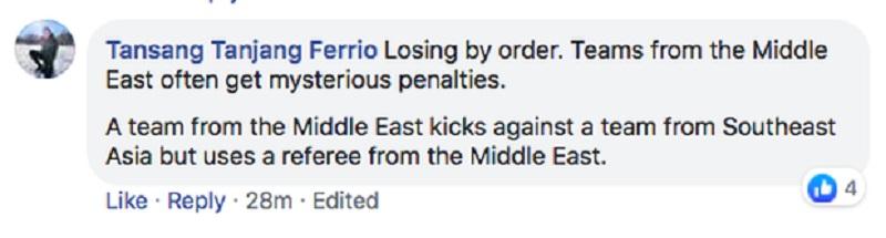 'Thua theo sự sắp đặt. Các đội từ vùng Trung Đông thường được hưởng những quả phạt đền bí ẩn. Thật kỳ lạ khi trọng tài Trung Đông lại được phân công bắt trận đấu của đội Trung Đông với Đông Nam Á'.