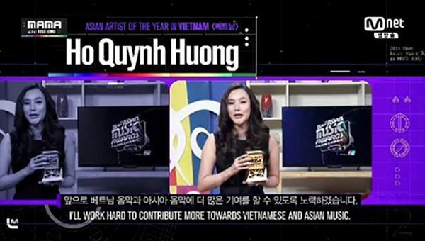 Hồ Quỳnh Hương nhận giải MAMA