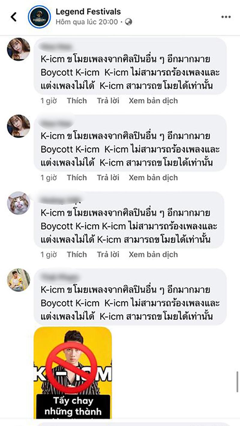 Một số bình luận tẩy chay KICM dưới các bài viết của sự kiện