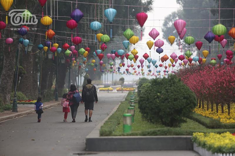 Đèn lồng giăng khắp nơi cùng hoa đào hoa đào rạng ngời phía bên trong công viên