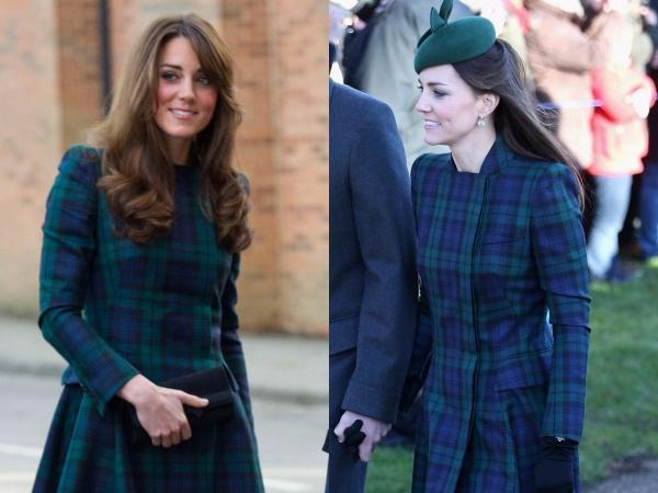 Lần đầu tiên cô diện chiếc áo khoác Alexander McQueen này khi đến thăm trường St. Andrew vào năm 2012 và sử dụng lại vào mùa Giáng sinh năm 2013.