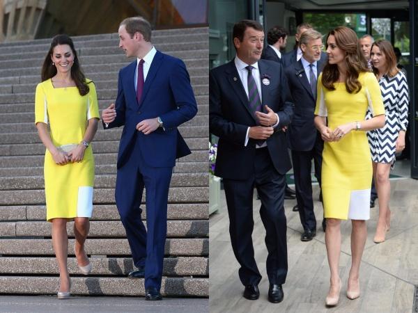 Cô chọn một chiếc váy Roksanda Ilincic màu vàng đáng yêu đầy sắc nắng cho chuyến đi New Zealand năm 2014 và tại Wimbledon 2 năm sau.